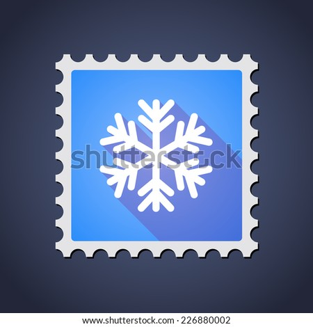 Illustration of a mail stamp icon with a snow flake - stock vector