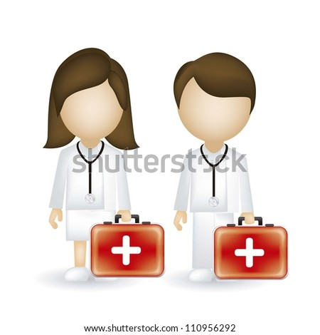 illustration of a male and female doctor isolated on blue background, vector illustration