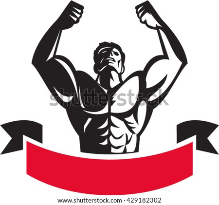 Illustration of a male body builder flexing muscles looking up viewed from front set on isolated white background with banner done in retro style.