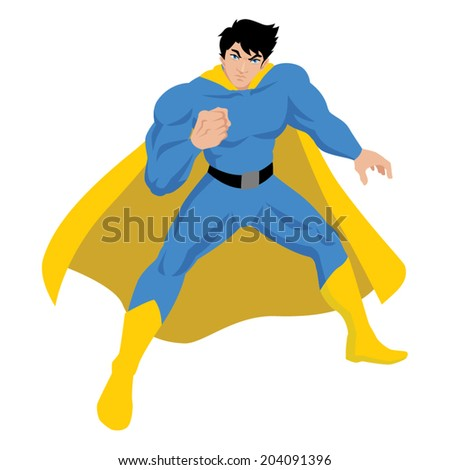 Illustration of a male figure in superhero costume - stock vector