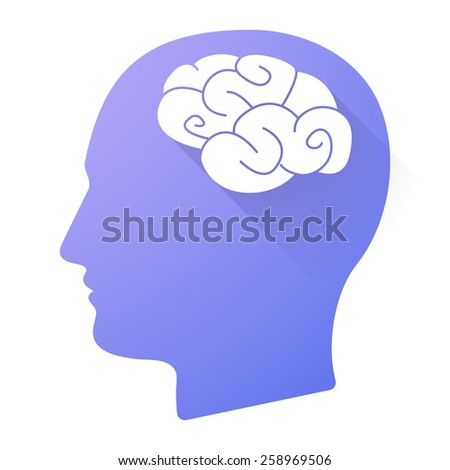 Illustration of a male head icon with a brain - stock vector