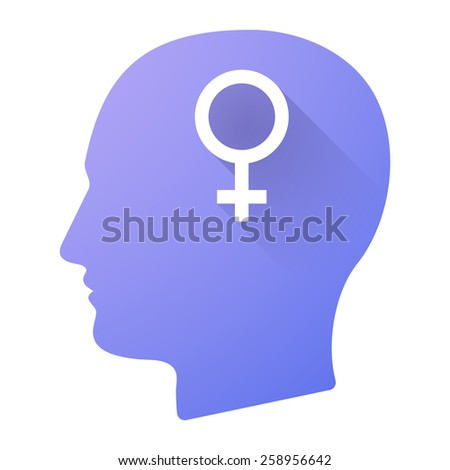 Illustration of a male head icon with a female sign - stock vector