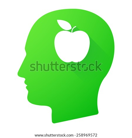 Illustration of a male head icon with a fruit - stock vector