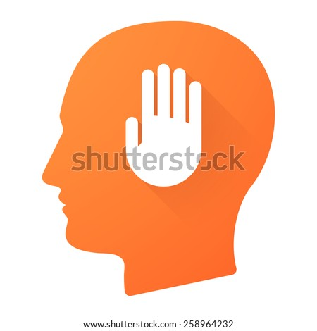 Illustration of a male head icon with a hand - stock vector