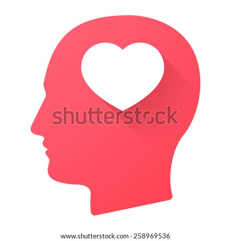 Illustration of a male head icon with a heart - stock vector