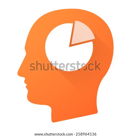 Illustration of a male head icon with a pie chart - stock vector