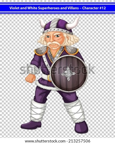 Illustration of a male viking with sheild - stock vector