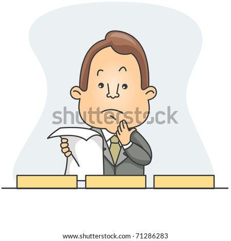 Illustration of a Man Deciding which box to store the document