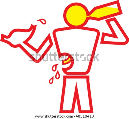 Illustration of a man drinking with an hand and holding his liver in the other - stock vector