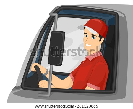 Illustration of a Man Driving a Delivery Truck  - stock vector