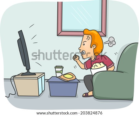 Illustration of a Man Getting Angry While Watching TV - stock vector