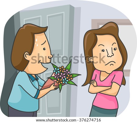 Illustration of a Man Offering a Bouquet of Flowers as an Apology - stock vector