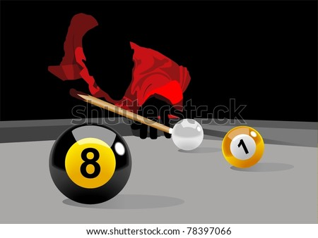 Illustration of a man playing pool - stock vector