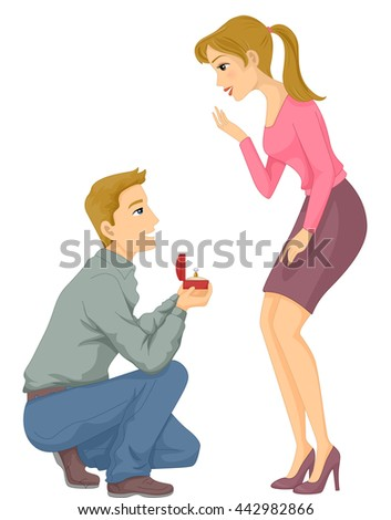 Illustration of a Man Proposing to His Girlfriend - stock vector