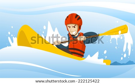 Illustration of a man riding a kayak. - stock vector