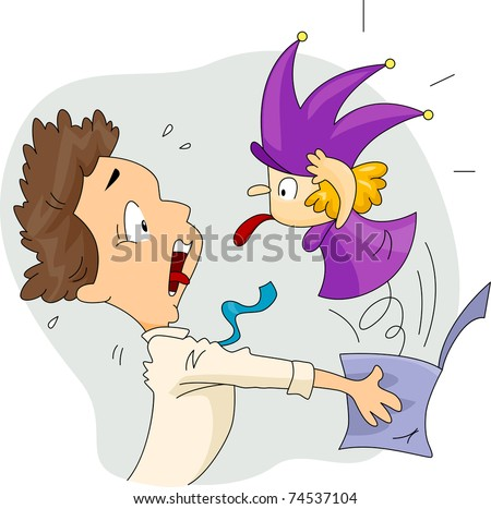 Illustration of a Man Scared by a Jack in the Box - stock vector