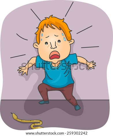 Illustration of a Man Startled by a Snake Crossing His Path - stock vector