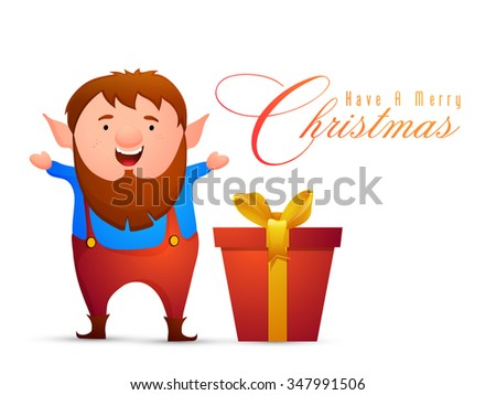 Illustration of a man with glossy big gift box, celebrating and enjoying on occasion of Merry Christmas. - stock vector