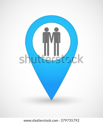 Illustration of a map mark icon with a gay couple pictogram