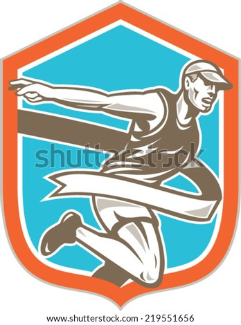 Illustration of a marathon runner running to the finish line tape set inside shield crest shape on isolated background done in retro style.  - stock vector