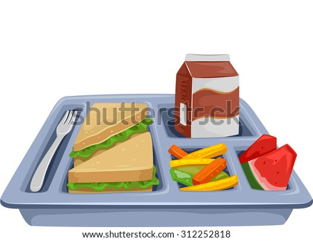 Illustration Meal Tray Filled Healthy Food Stock Vector ...