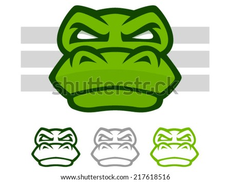 Illustration of a mean looking crocodile or alligator face icon - stock vector