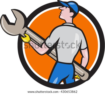 Illustration of a mechanic carrying giant spanner looking up to the side viewed from rear set inside circle on isolated background done in cartoon style.  - stock vector