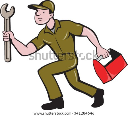 Illustration of a mechanic carrying spanner wrench and toolbox running viewed from the side set on isolated white background done in cartoon style. - stock vector