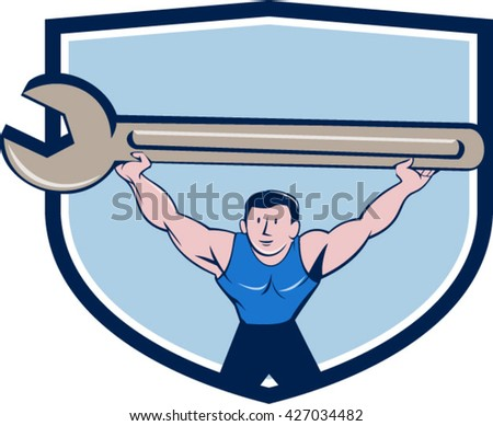 Illustration of a mechanic lifting giant spanner wrench over head viewed from front set inside shield crest on isolated background done in cartoon style.  - stock vector