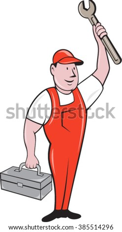 Illustration of a mechanic wearing hat and overalls standing lifting raising up spanner wrench holding toolbox looking to the side viewed from front set on isolated background done in cartoon style.  - stock vector