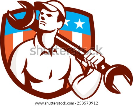 Illustration of a mechanic wearing hat holding spanner wrench on shoulder looking up to the side set inside shield crest american usa stars and stripes  flag in the background done in retro style. - stock vector
