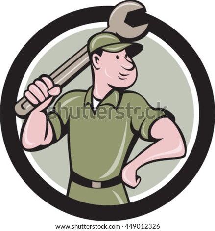 Illustration of a mechanic wielding holding spanner wrench looking to the side viewed from front set inside circle on isolated background done in cartoon style.  - stock vector