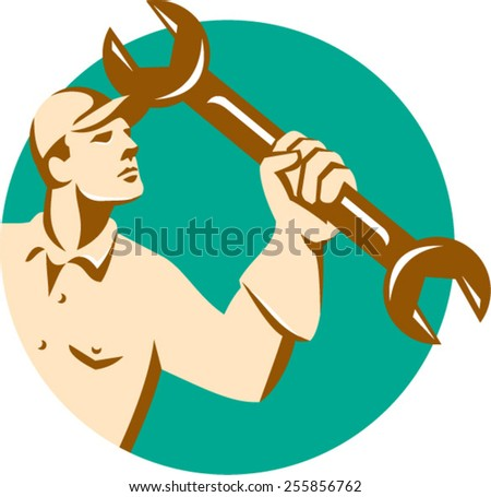 Illustration of a mechanic wielding holding spanner wrench looking up viewed from side set inside circle on isolated background done in retro style.  - stock vector