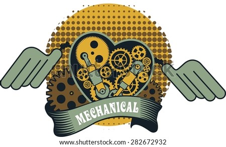illustration of a mechanical heart of a variety of metal parts Steam punk - stock vector