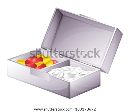 Illustration of a medicine kit with capsules and tablets on a white background