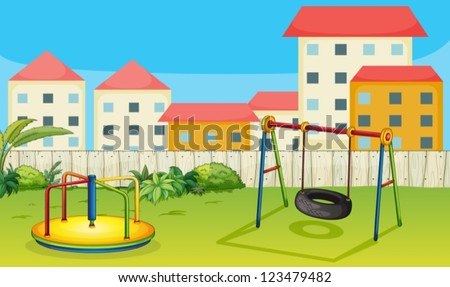 Illustration of a merry-go-round and a swing in a beautiful nature - stock vector