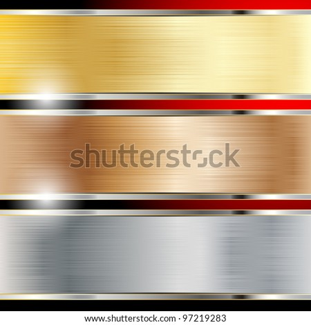 Illustration of a metal background, copper, steel and gold. Vector. - stock vector