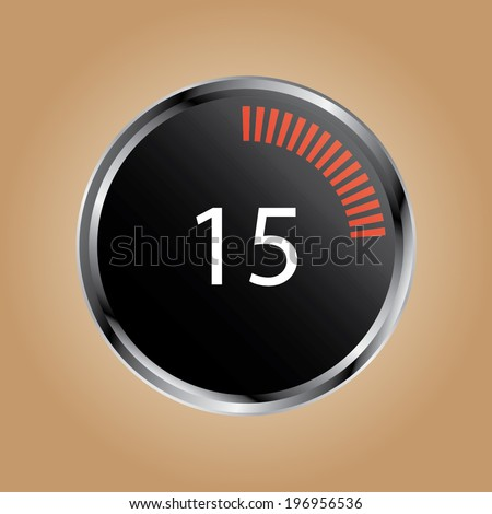 illustration of a metal framed digital stop watch showing 15s
