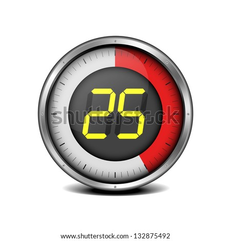 illustration of a metal framed timer with the number 25, eps10 vector - stock vector