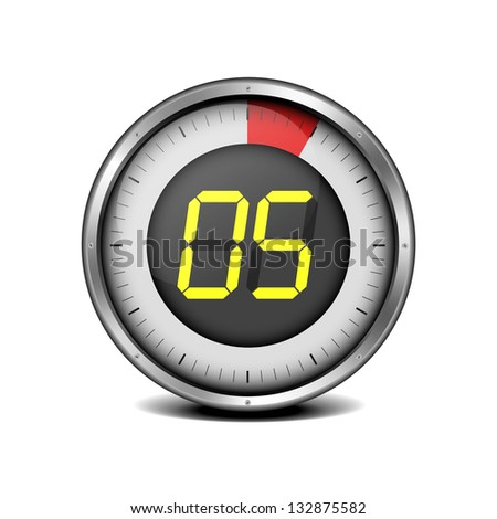 illustration of a metal framed timer with the number 5, eps10 vector - stock vector