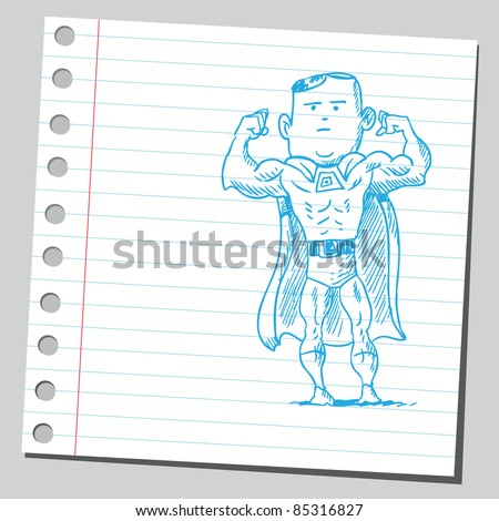 Illustration of a mfghty superhero
