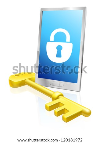 Illustration of a mobile phone with lock symbol on the screen and large golden key. A security concept. - stock vector