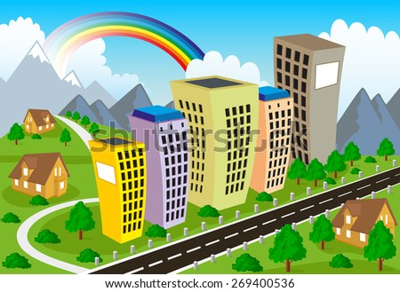 Illustration of a modern city with park - stock vector