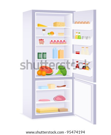 illustration of a modern refrigerator with food - stock vector