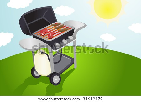 Illustration of a modern style bbq grill on a summer day.