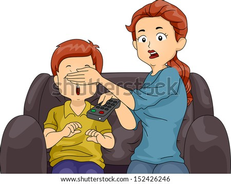 Illustration of a Mom Covering Her Son's Eyes While Watching TV - stock vector