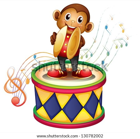 Illustration of a monkey above a drum with cymbals on a white background - stock vector