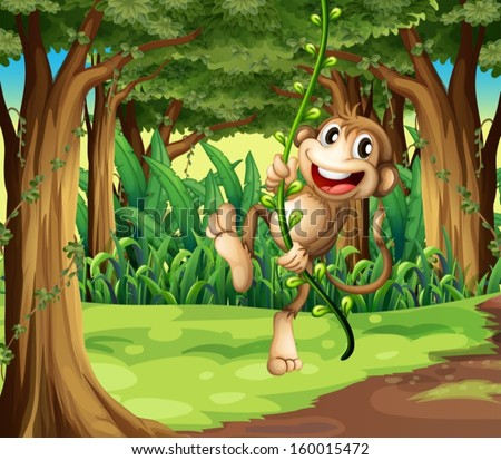 Illustration of a monkey playing with the vine trees in the middle of the forest - stock vector