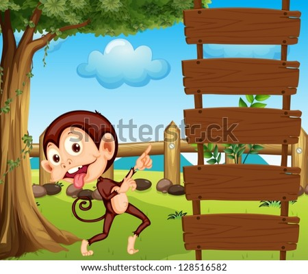 Illustration of a monkey pointing at the empty signboard - stock vector