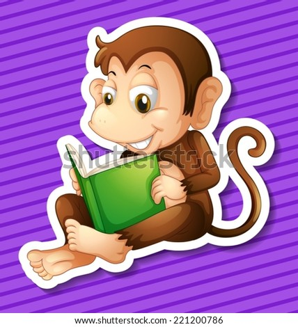 Illustration of a monkey reading book - stock vector
